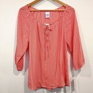 Peasant Top Zig Zag Coral Boutique Blouse S/M